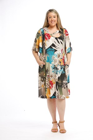 Printed Soft Knit Dress with keyhole detail and Pockets GOLD MULTI