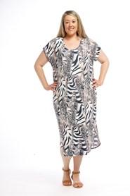 Printed Soft knit Dress with cold shoulder