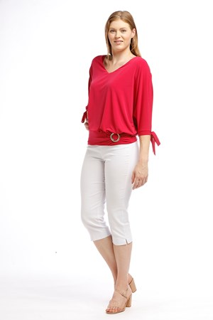 Izabella Soft Knit Tie Sleeve Detail And Buckle - Pink