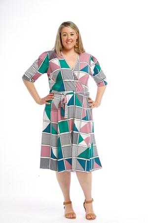 Printed Soft Knit Wrap Dress PINK GREEN
