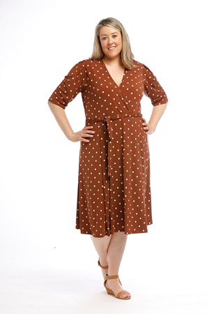 Printed Soft Knit Wrap Dress RUST SPOT