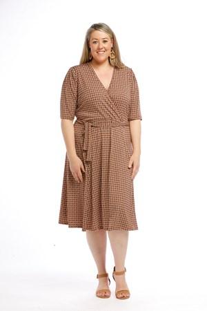 Printed Soft Knit Wrap Dress RUST