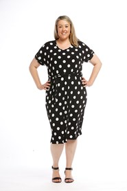Printed SPOT softknit dress with tie belt