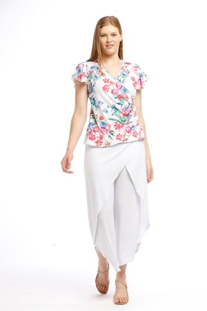 Printed Faux Wrap Top - WHITE MULTI PRINT