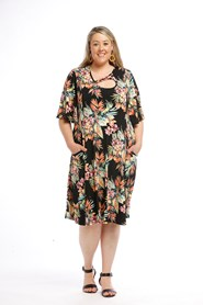 Printed Soft Knit Dress with keyhole detail and Pockets BLACK FLORAL