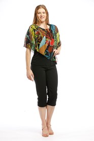 Printed Chiffon Overlay Top MULTI
