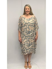Printed Chiffon Overlay Dress PEACH GREY ANIMAL