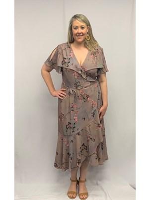 Printed Wrap Dress MOCHA FLORAL