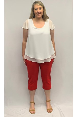 Katrina 7/8 BENGALINE PANT in CHRISTMAS RED