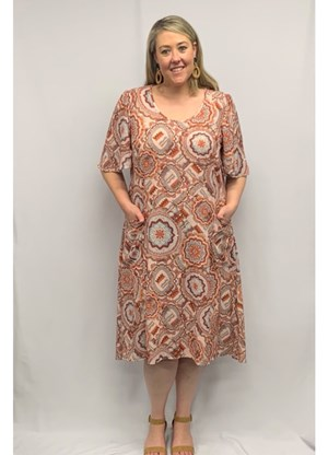 Printed Crepe Dress with Pockets