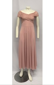 Soft Knit Maxi Dress with Lace Detail DUSTY PINK