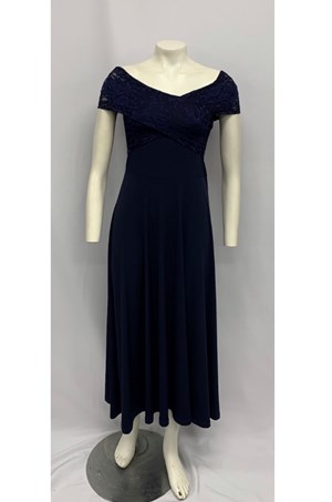 Soft Knit Maxi Dress with Lace Detail NAVY