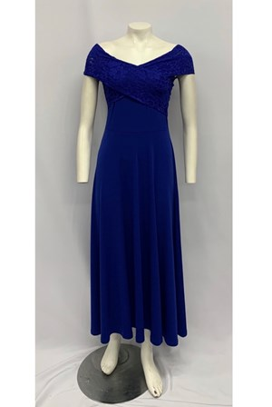 Soft Knit Maxi Dress with Lace Detail ROYAL