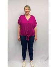 Bamboo Top with wood buttons FUCHSIA