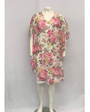 PRINTED PINK FLORAL CHIFFON DRESS