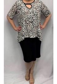 Printed Overlay Dress Soft Knit ANIMAL