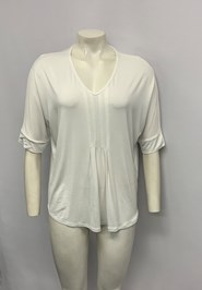 Bamboo Top with pleat front WHITE