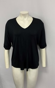 Bamboo Top with pleat front BLACK