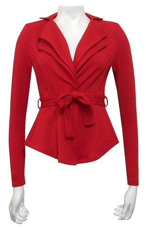 RED - Jenny double collar jacket with waist tie