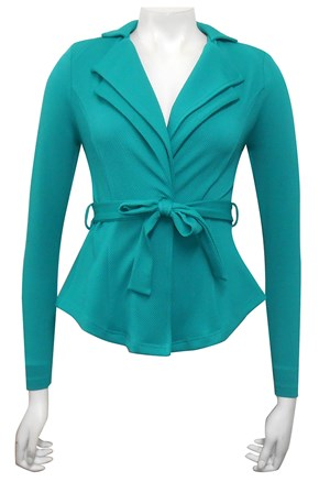 TEAL - Jenny double collar jacket with waist tie