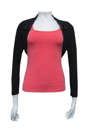 Soft knit shrug with tab/button detail at front