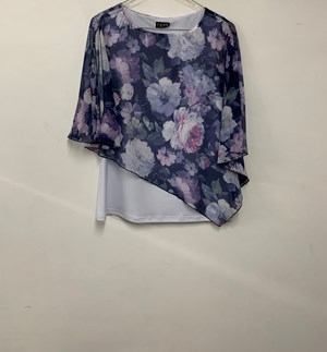 Printed Chiffon Overlay Top PURPLE WHITE
