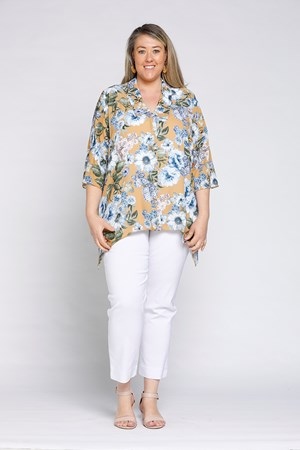 Wendy Crepe Collared Shirt- Mustard Floral