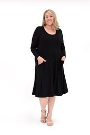 Tessa Long Sleeve Wonderland Knit Tunic Dress with Pockets BLACK