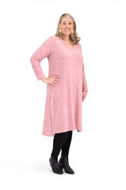 Jade Long Line V-Neck Woolly Knit Tunic with Split Side Detail