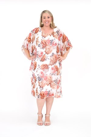 Printed Chiffon Overlay Dress with soft knit lining RUST FLORAL PRINT
