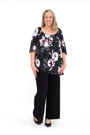 Sofia Angle Hem Top - Can be woren off or on the shoulder PINK FLORAL