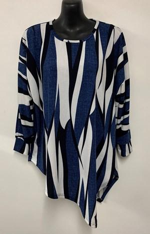 Nadine Angle Hem Woolly Knit Top BLUE