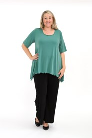 Soft Knit Top with Peaked Sides MOSS GREEN