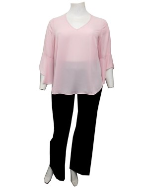 LIMITED STOCK - PINK - Hannah V neck top with uneven frill sleeves