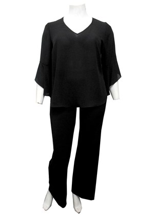 BLACK - Hannah V neck top with uneven frill sleeves