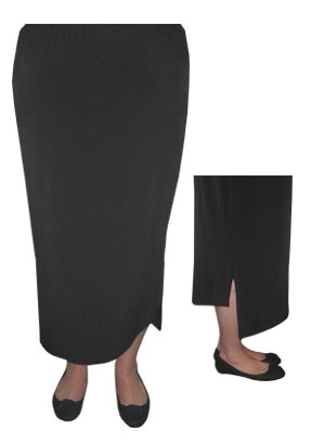Soft knit elastic waist skirt with side split