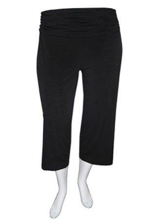 3/4 Soft knit pants with ruched waist