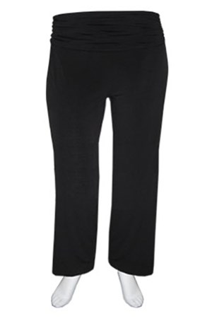 Soft knit full length pant with ruched waist band
