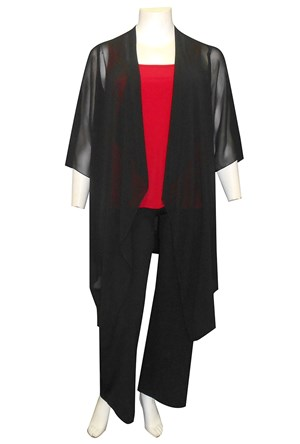 BLACK - Jess chiffon waterfall jacket shrug