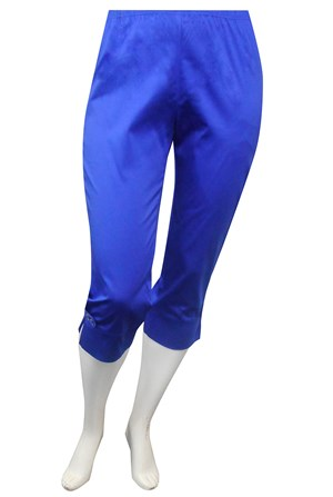 CLICK TO SEE COLOURS - Annette plain sateen 3/4 pant with hem detail