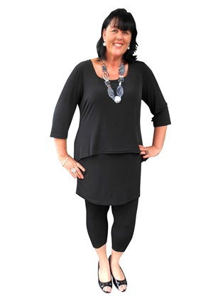 Daniella soft knit overlay tunic dress