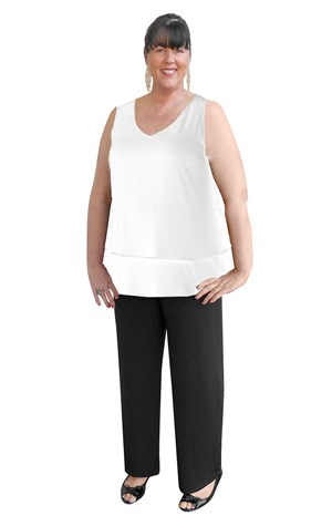 CLICK TO SEE COLOURS - Maya V-neck 2 layer singlet