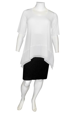 WHITE - Vivian soft knit and double chiffon hem tunic