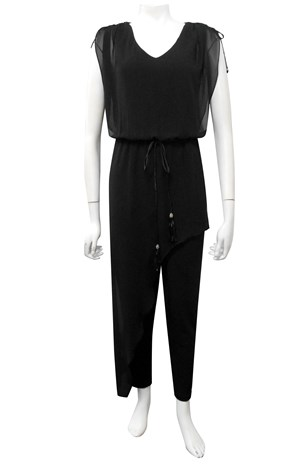 Victoria soft knit and chiffon overlay jumpsuit