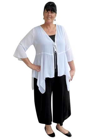 CLICK TO SEE COLOURS AVAILABLE - Tracy plain chiffon shrug with flared sleeves