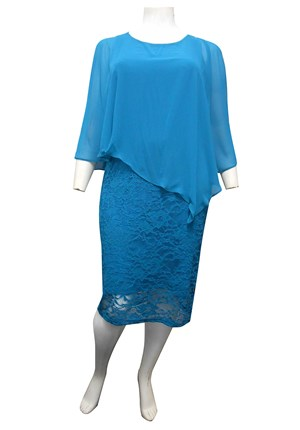 TEAL - Julie chiffon overlay lace dress