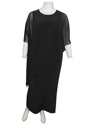 BLACK - Amy chiffon overlay soft knit maxi dress