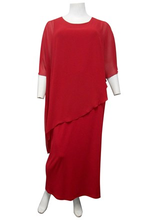 RED - Amy chiffon overlay soft knit maxi dress