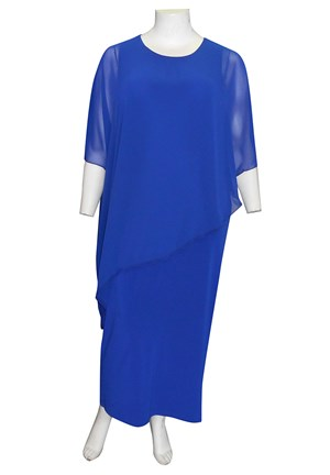 ROYAL - Amy chiffon overlay soft knit maxi dress