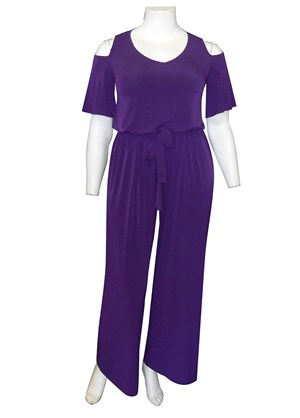 CLICK TO SEE COLOURS - Claire cold shoulder jumpsuit